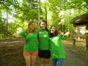 Lesya (left) at Adventure Links in Virginia
