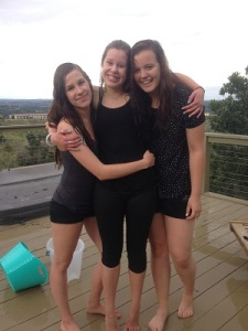 Hannah, Rebekah, and Hannah after an ice bucket challenge gone wrong