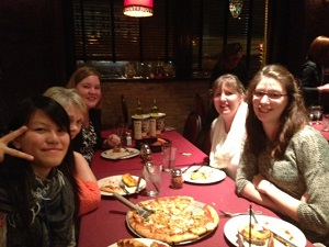 After the CSIET student panel, Julie (upper left) and her students join Chicago Office Staff at a Milauakee Pizza Joint.