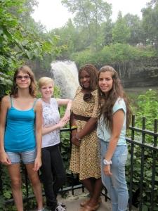 The girls enjoying the falls.