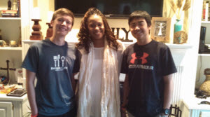 Adrienne with her students, Reinhold and Bie