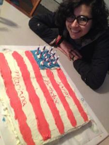Lisa's exchange student/daughter celebrates a birthday in the US with her host family
