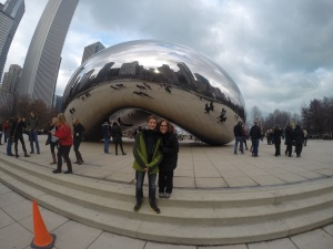 Ota and a family friend visiting Chicago and Cloud Gate.